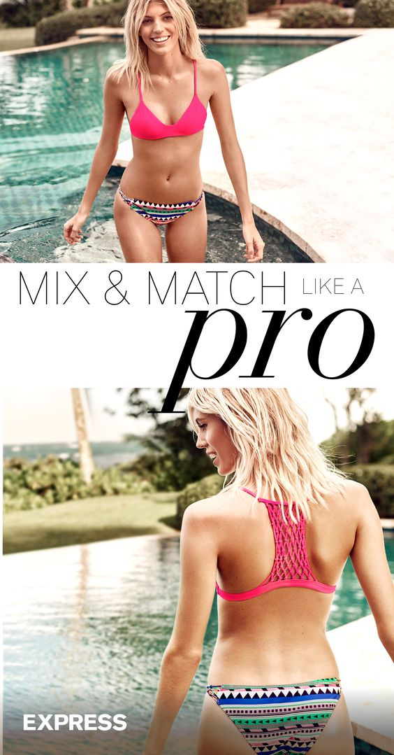 Spring break is around the corner. It's time to find your best swimsuit for the season. Customize your Express swim look with mix & match tops and bottoms. Start with a top that complements your shape, then add a bottom that plays on your best assets. Mix bright patterns with crochet details for a playful vibe, or opt for a monochromatic look with cut outs for an effortlessly chic look. Don't be afraid to mix it up to get the most out of your look. Shop now at Express to find your match.