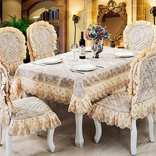 European Fabric Table Cloth Chair Covers Cushions Set Round