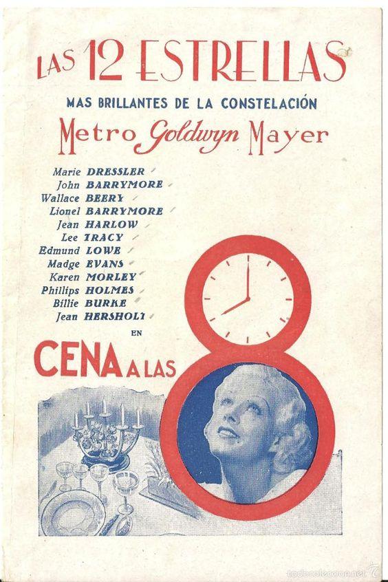 CENA A LAS 8 PROGRAMA DOBLE MGM WALLACE BEERY JEAN HARLOW LIONEL BARRYMORE…