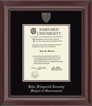 Harvard University Diploma Frame Jfk Black And Economics