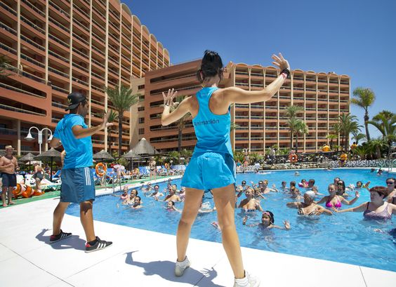 Aqua zumba class. Weddings at sunset beach Benalmadena.