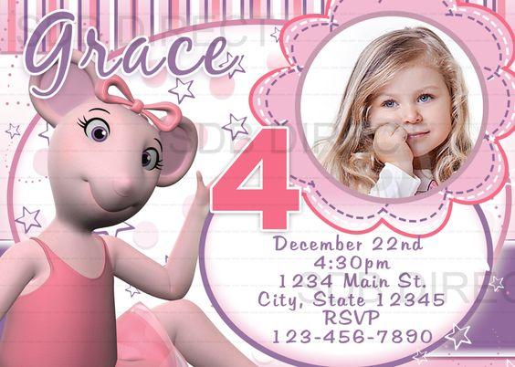 Cute Angelina Ballerina Digital Birthday Party Invitations DIY – Angelina Ballerina Birthday Invitations