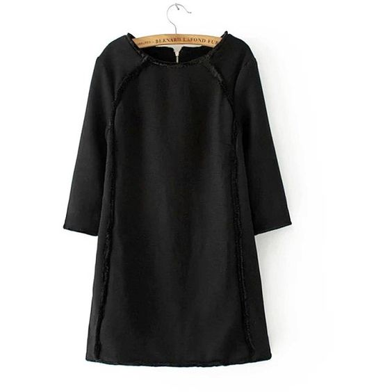 Yoins Black Stitching Round Neck Mini Dress-Black  S/M/L (51 AUD) ❤ liked on Polyvore featuring dresses, black, formal gowns, 3/4 sleeve formal dresses, short formal dresses, zipper back dress, mini dress and black dress