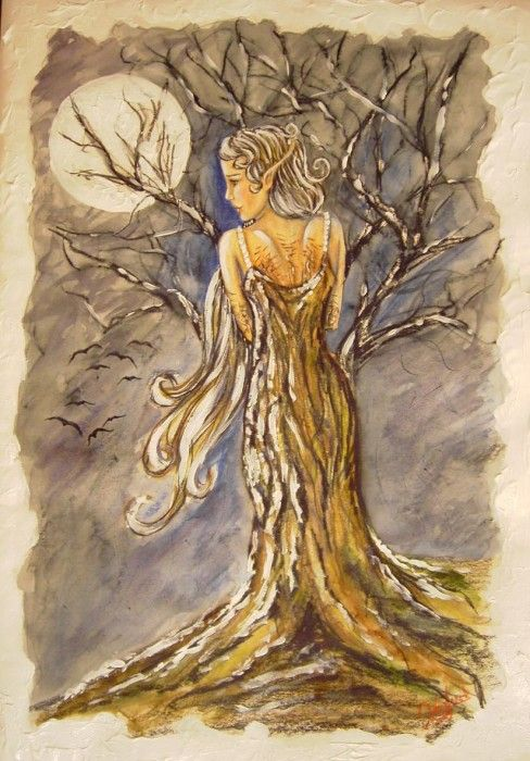 Dryads - in Greek mythology, are spirits of the forest nymphs of the trees.