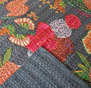 Kantha Throw: