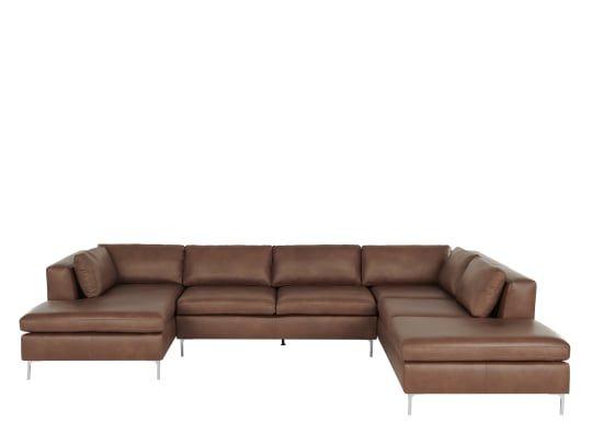 Made Walnut Brown Leather Corner Sofa Corner Sofa Leather Corner Sofa Sofa