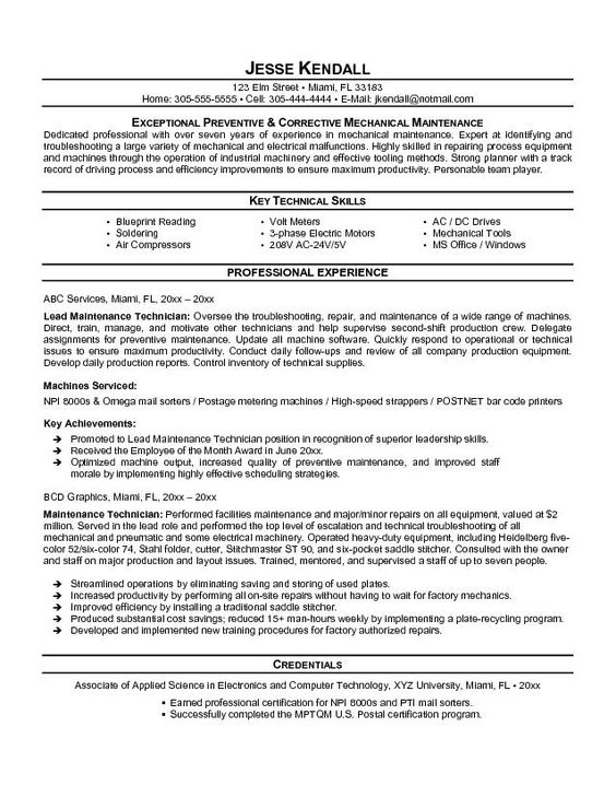 maintenance resume template free   http   topresume info    maintenance resume template free   http   topresume info maintenance resume