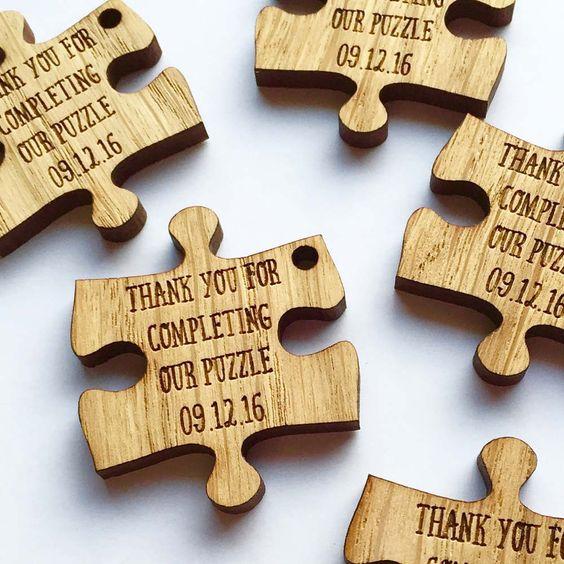 Puzzle piece wedding favours - Etsy