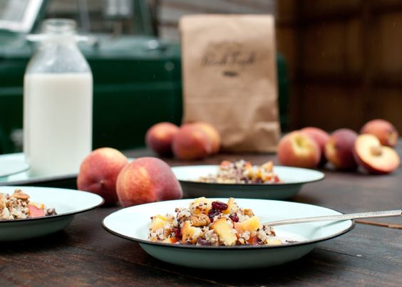 Cold Quinoa Breakfast Cereal with Peaches & Pecans | The Peach Truck