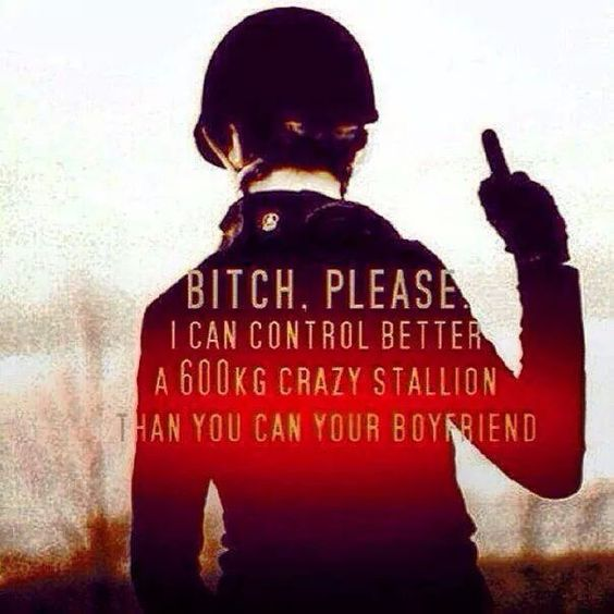 Bitch. Please. I can control better a 600 kg crazy stallion than you can your boyfriend.