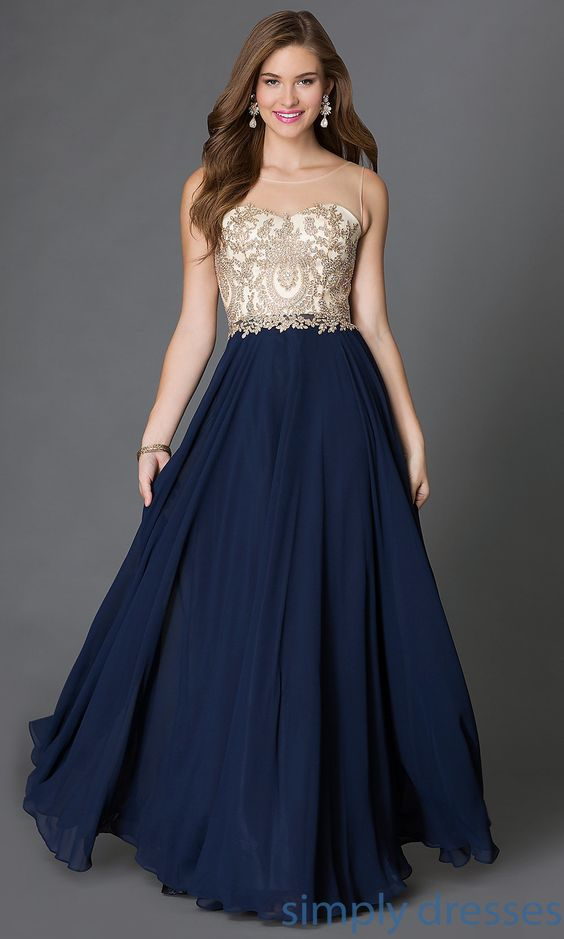 DQ-9247 - Long Prom Gown with Embroidered Bodice  Career Prom ...
