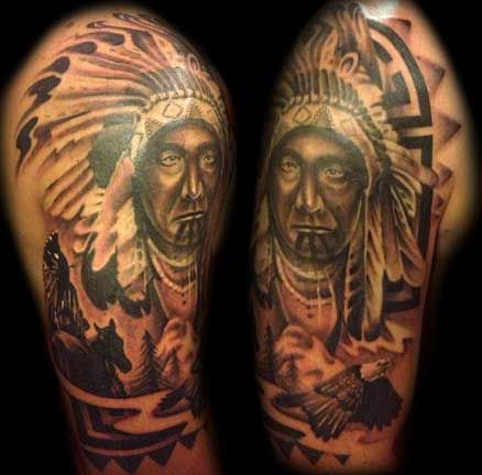 Native american indian chief portrait tattoo by nic for Native american warrior tattoos