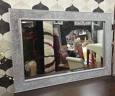 crackle design wall mirror plain silver frame mosaic glass 120x80cm new handmade silver frames mosaic glass and wall mirrors