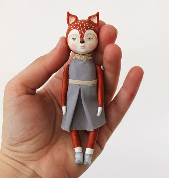 SALE Miss Fox ooak art doll von sweetbestiary auf Etsy