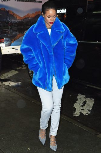 Rihanna All Wrapped Up In A Blue Faux Fur Coat Out And About In New York, 2014