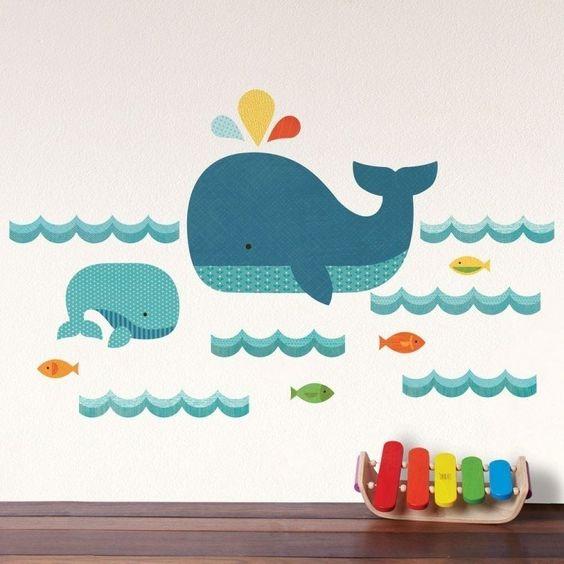 Idee Deco Chambre Ado Petite :  chambre chambre bébé chambre enfant dauphins poissons murale bebe