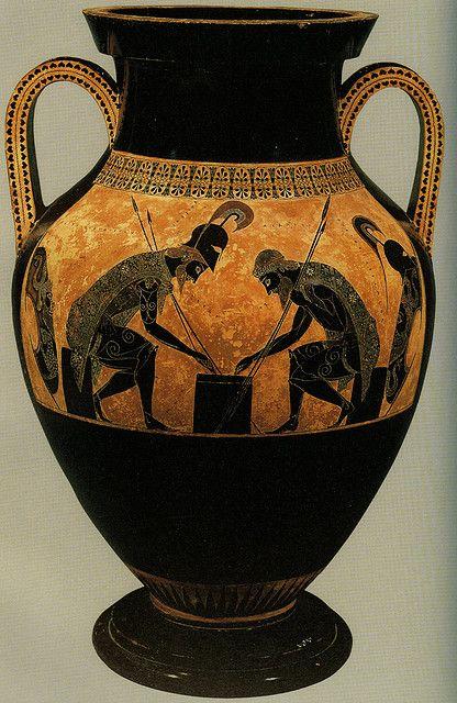 Achilles & Ajax playing draughts - Greek vase ( ca 530 BC Vatican) by Ark in Time, via Flickr   Aquiles y Ayax jugando a las damas.