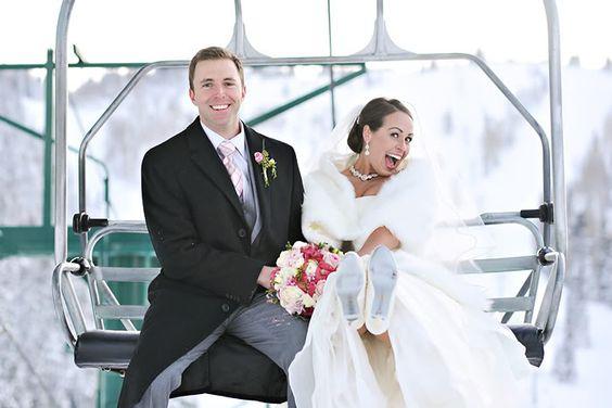 Fun winter wedding photo!