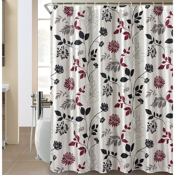 Wild Bloom Shower Curtain and Hook Set | Shades of black, Hooks ...