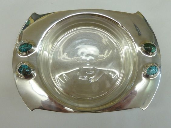 ARCHIBALD KNOX CYMRIC HM SILVER DISH GLASS TURQUOISE CABOCHONS FOR LIBERTY CO 1903