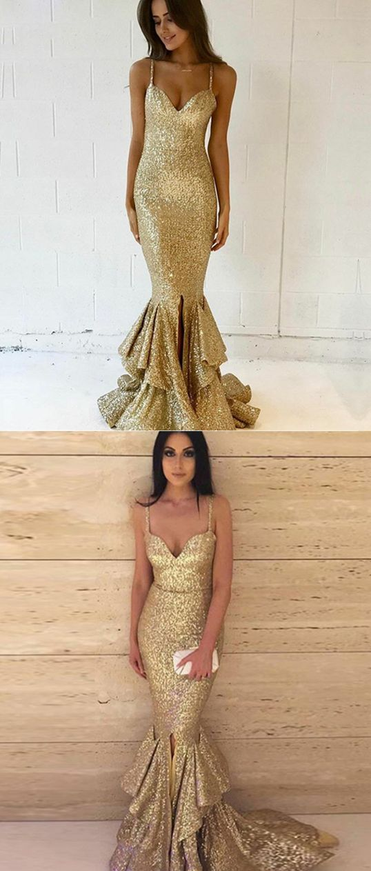 Mermaid Spaghetti Straps Sweep Train Gold Sequined Prom Dress, modest gold spaghetti straps mermaid prom dresses, unique v neck sequined trumpet evening dresses #golddress