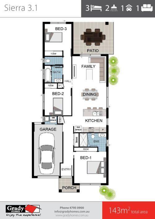 Modern House Designs For 150 Sqm 140sqm Narrow House Floor Plan 3 Bedrooms 2 Bathrooms Floor Plans Narrow House Designs House Floor Plans