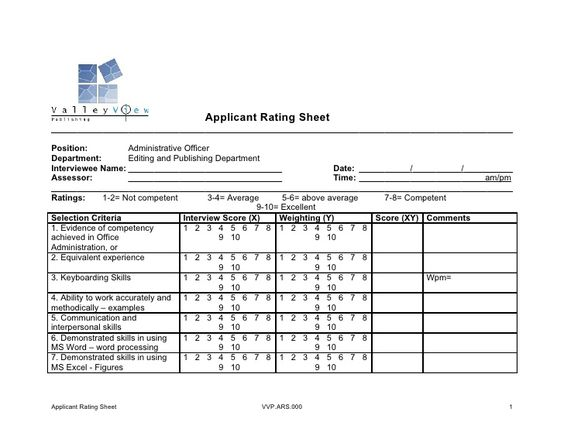 Image result for interview rating sheet OMS Pinterest - interview score sheet template