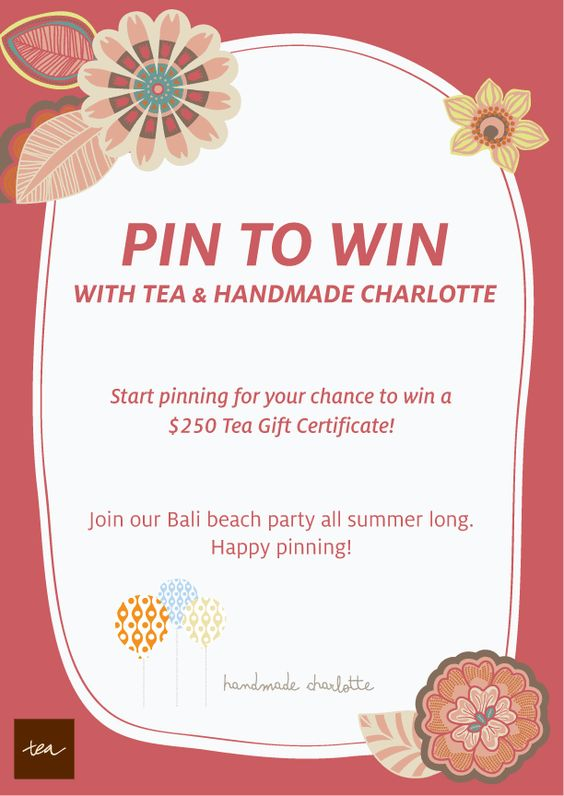 "To enter: 1) Follow @Tea Collection & @handmade charlotte on Pinterest 2) Create a board & label it "" My Perfect Summer Party"" 3) Pin everything you need for your party, including at least 8 items from Tea & 8 items from Handmade Charlotte. 4) Add a brief description in each pin of why you love the item. 5) Share your board with us by posting a link to your board on the official contest pin in the comments section: http://bit.ly/HBxzCo. See our board example: http://bit.ly/HDbSh6 Ends on 4/23!: Stuff, Comment, Style Tea"