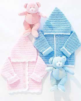 Bernat: Pattern Detail - Baby Coordinates - Sweet Baby Hoodie (crochet)