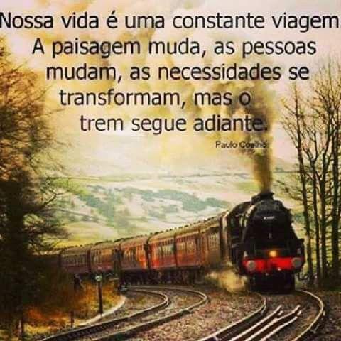 Nossa vida é uma constante viagem. A paisagem muda, as pessoas mudam, as necessidades se transformam, mas o trem segue adiante.: