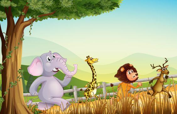 Ilustración de dibujos animados de carreras de animales