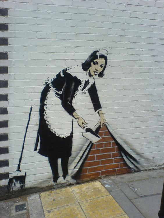 Artist: Banksy.  So I totally am in love with this mans stuff. mostly street art. Some gallery stuff.