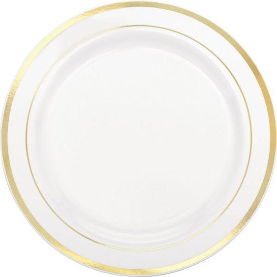white gold trimmed premium plastic dinner plates 10ct
