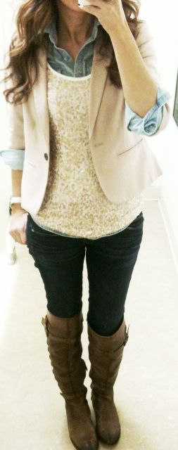 Button Down + Sequined Tank + Blazer + Skinny Jeans + Boots + Accessories