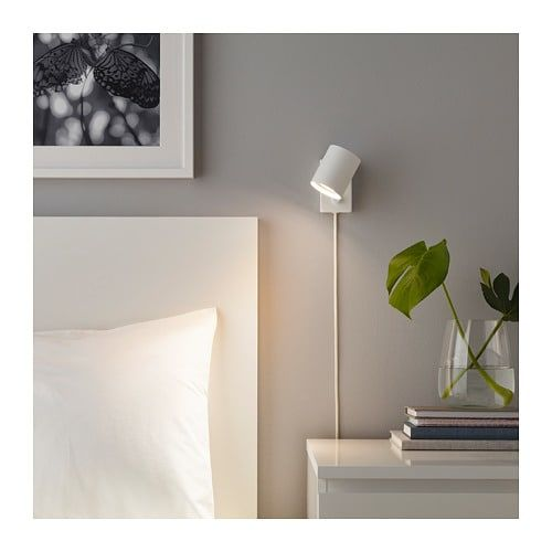 Nymane Wall Reading Lamp With Led Bulb White Ikea Ikea Wall Lights Wall Lights Bedroom Reading Lamp Bedroom