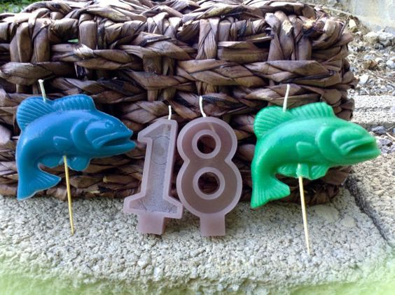 Fisherman Birthday Candles 6.00 by BabyBearCrayons on Etsy