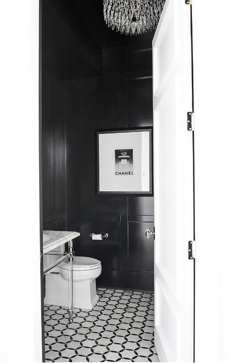 Luxurious Black And White Powder Room Boasts Black And White Marble Floor Tiles Fitted Beneath A G White Marble Tile Floor Marble Tile Floor White Marble Floor
