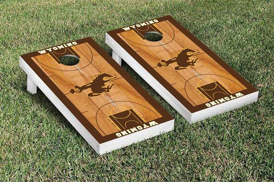 The Wyoming Cowboys Corn hole Board Set -Basketball Court Version - 22909