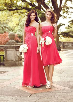 Impression Bridesmaids: 1744 ... My bridesmaids dress is the short one on the right... Will be in 2 different blue colors though not pink: