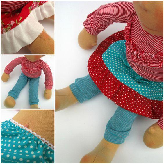 Puppenkleidung - Kleiderset Frida (rot-weiß geringelt/ türkis, rot) - ein Designerstück von FrokenSkicklig bei DaWanda