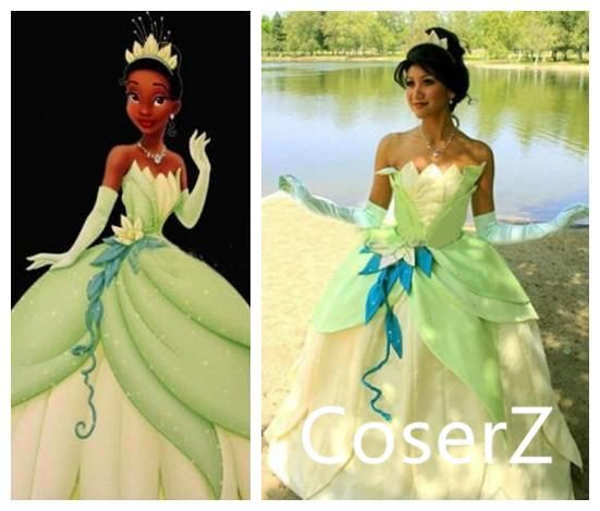 Details about  /Princess and the Frog Tiana Princess adult Female Fancy dress cosplay costum