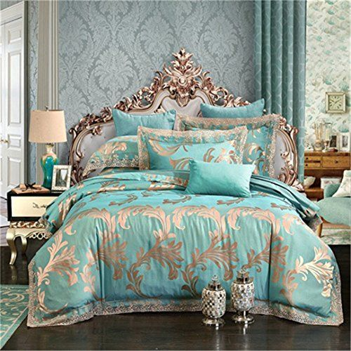 Restpn Gold Silver Coffee Jacquard Luxury Bedding Set Queen King