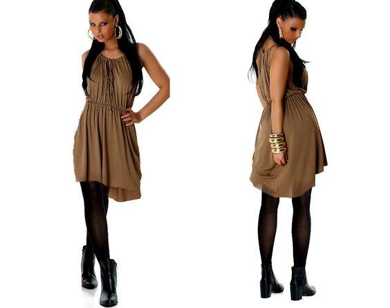 Vokuhila Tunika Abendkleid Kleid Minikleid Stiefel Toga DRESS braun Gr.38,40 neu