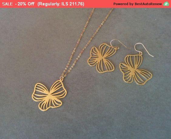 Valentine's Day Sale Gold Flower Necklace by HilaAssaJewelry