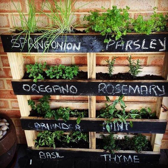 Une jardinière avec palette