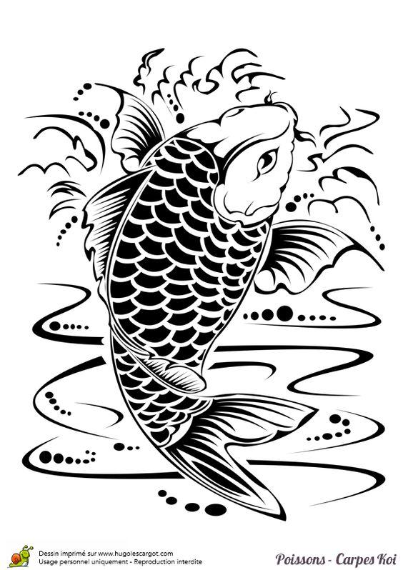 Coloriage poisson carpe koi encre de chine sur chine - Carpe koi dessin ...