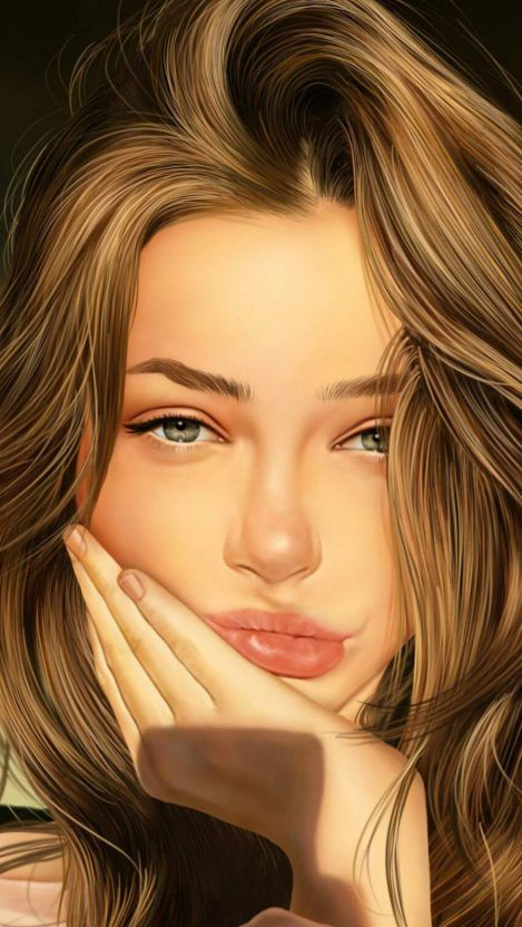 Beauty Girl Iphone Wallpaper Free Want Free Download Beautiful Girl Drawing Digital Art Girl Girl Iphone Wallpaper