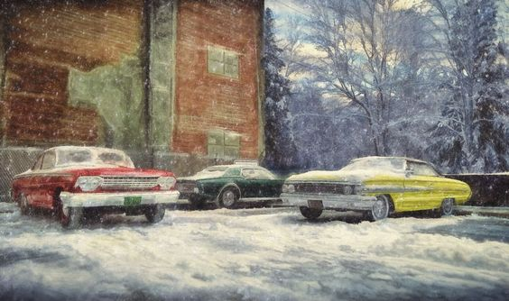Amidst Blizzards They Rest ....  These cars are not real, but rather models set in real world settings.  Hot Rod Art by Rat Rod Studios, www.RatRodStudios.com
