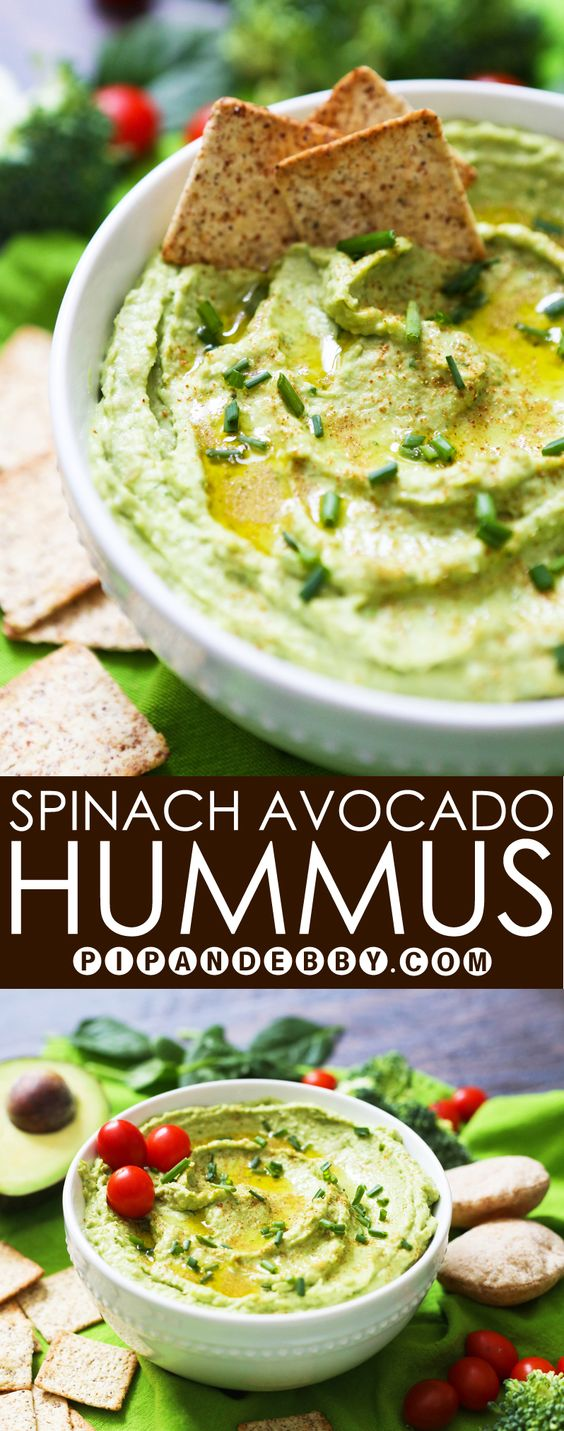 Spinach Avocado Hummus | Add an extra healthy, green twist to your hummus! Serve as an appetizer or make it for lunch!