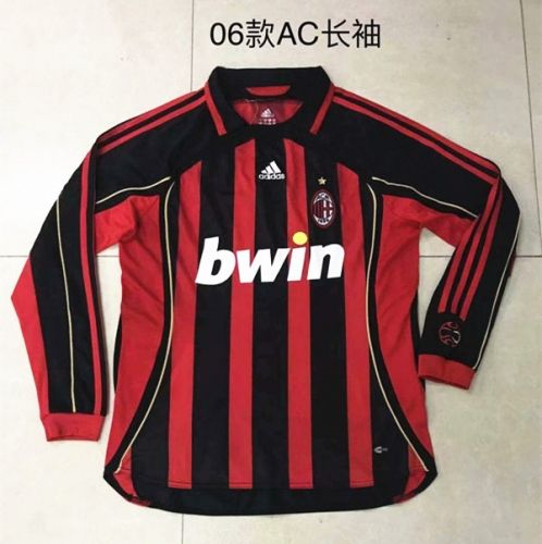 Retro Version 2006 Ac Milan Home Red Black Thailand Soccer Jersey Aaa 510